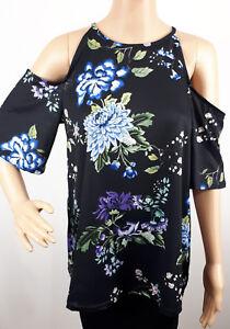 Ex-Dorothy-Perkins-Ladies-BLACK-Floral-Print-Cold-Shoulder-Top-Size-6-20