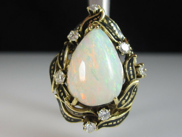 14K Opal Diamond Ring Black Enamel Estate Solid Fine Jewelry Size 7
