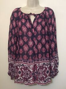 Lucky-Brand-Small-Tunic-Top-Purple-Long-Sleeve-Relaxed-Fit-Button-Boho-Blouse