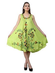 6bd2602109b76 XL 1 X 2X Green Umbrella Dress Airbrush Floral Tye Dye Handmade ...