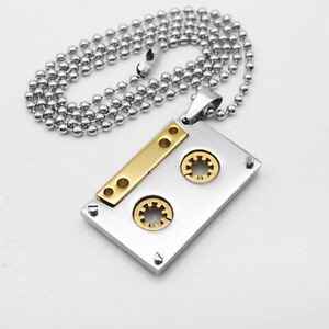 Gold-DJ-Tape-Pendant-Ball-Beads-Link-Chain-Bling-Necklace-Charm-Jewelry