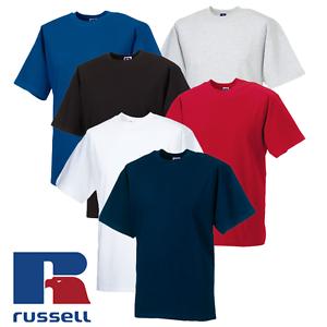 Russell-MEN-039-S-T-SHIRT-HEAVYWEIGHT-TOP-SUMMER-TEE-SOFT-COTTON-PREMIUM-PLAIN-S-2XL