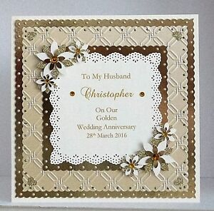 Image Is Loading Golden 50th Wedding Anniversary Card Wife Husband Mum