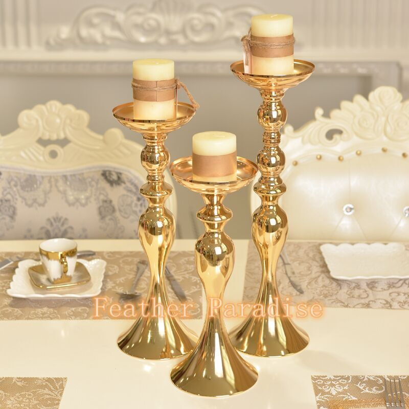 Set of 3 Wedding Flower Feather Ball Floral Stand Pillar Candle Holder  Gold