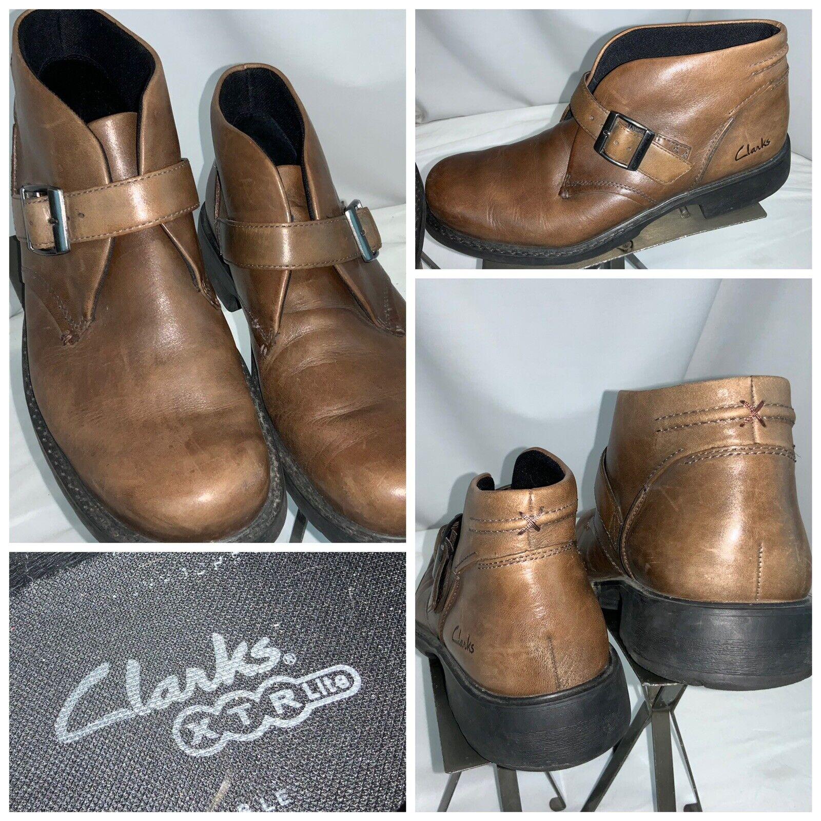 Clark's XTR Lite Boots Sz 10 Men Brown Leather Monk Strap EUC YGI F0S-111
