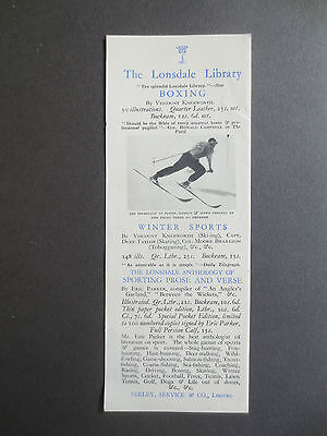 BOOKMARK Vintage 1930s Boxing Winter Sports Skiing Books Lonsdale Library
