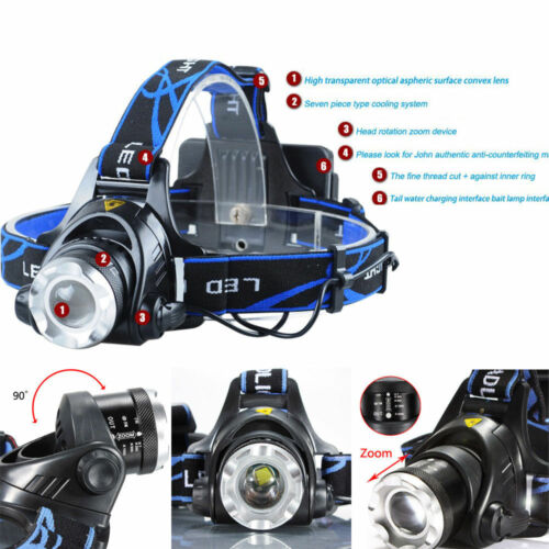 12000LM CREE XM-L T6 LED Headlamp Zoomable HeadLight+18650 Battery+Charger LOT K
