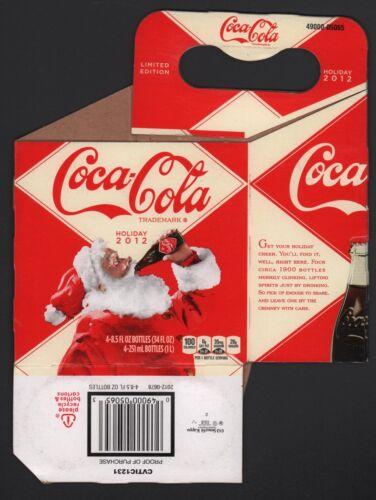 2012 Santa Holiday Edition Carrier Coca Cola Cardboard 4-Pack Bottle Case