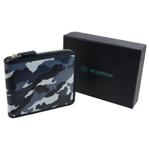 Redbrick-Leather-Mens-Zip-around-Wallet-Grey-Camouflage-RFID-Protected