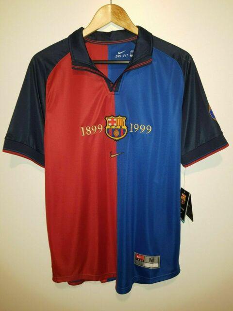 super popular f4c8c 2a9ad Nike F.c. Barcelona 1999 Home Centennial Soccer Jersey Size M