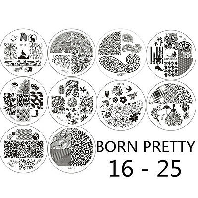 10pcs/Set BORN PRETTY Nail Art Stamp Template Image Stamping Plates 16-25