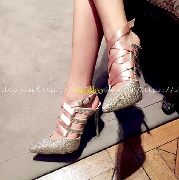 Womens Fashion slim high heels pointy toe lace up wedding party stilettos shoes
