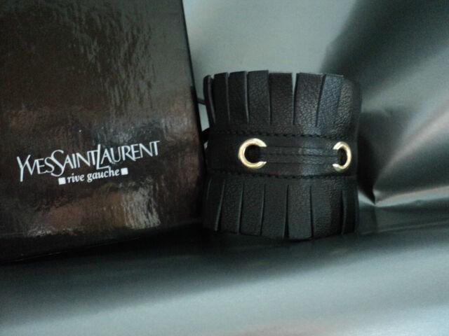 Vintage YSL Yves Saint Laurent Black Leather Cuff Bracelet Unique BNWT AUTHENTIC