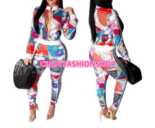Pants Suit USA  Women Floral Printed Two Pieces  Set Long Sleeve Front Zipper