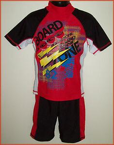 2-Pc-RASHI-Sz-3-4-5-6-7-8-10-12-14-Swimwear-BOYS-RED-TOGS-Rash-Top-amp-Shorts-NEW