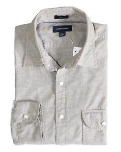 J-Crew-Men-039-s-Slim-Fit-NWT-Safari-Fatigue-Beige-Slub-Poplin-Spread-Collar-Shirt