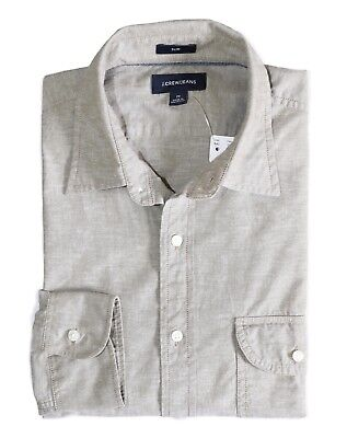 NWT Safari Fatigue Beige Slub Poplin Spread Collar Shirt J.Crew Men/'s Slim Fit