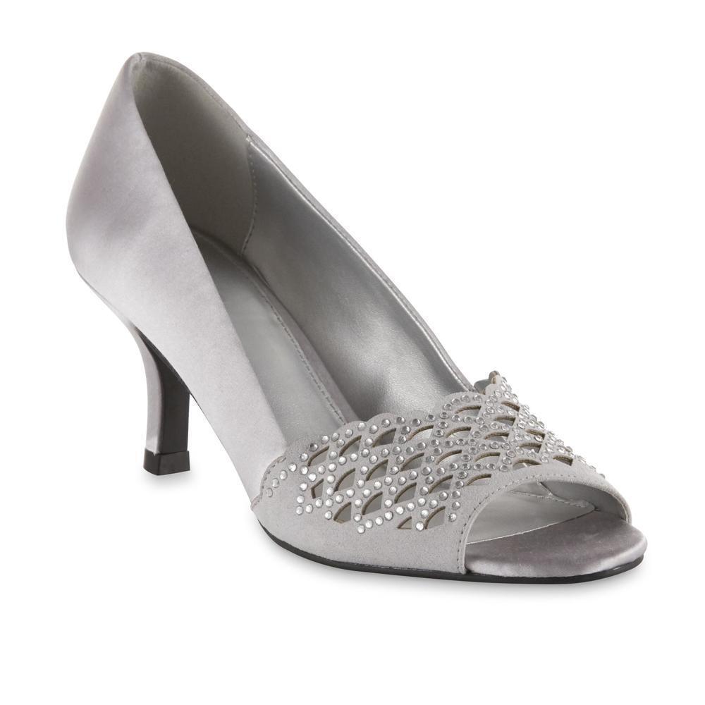 Laura Scott Women's Karlotta Silver Open Peep Toe Dress Pump shoes Sz 6-11 Med
