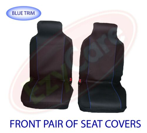 VAUXHALL COMBO 93-01 FABRIC BLUE TRIM VAN SEAT COVERS 2 SINGLE 1+1