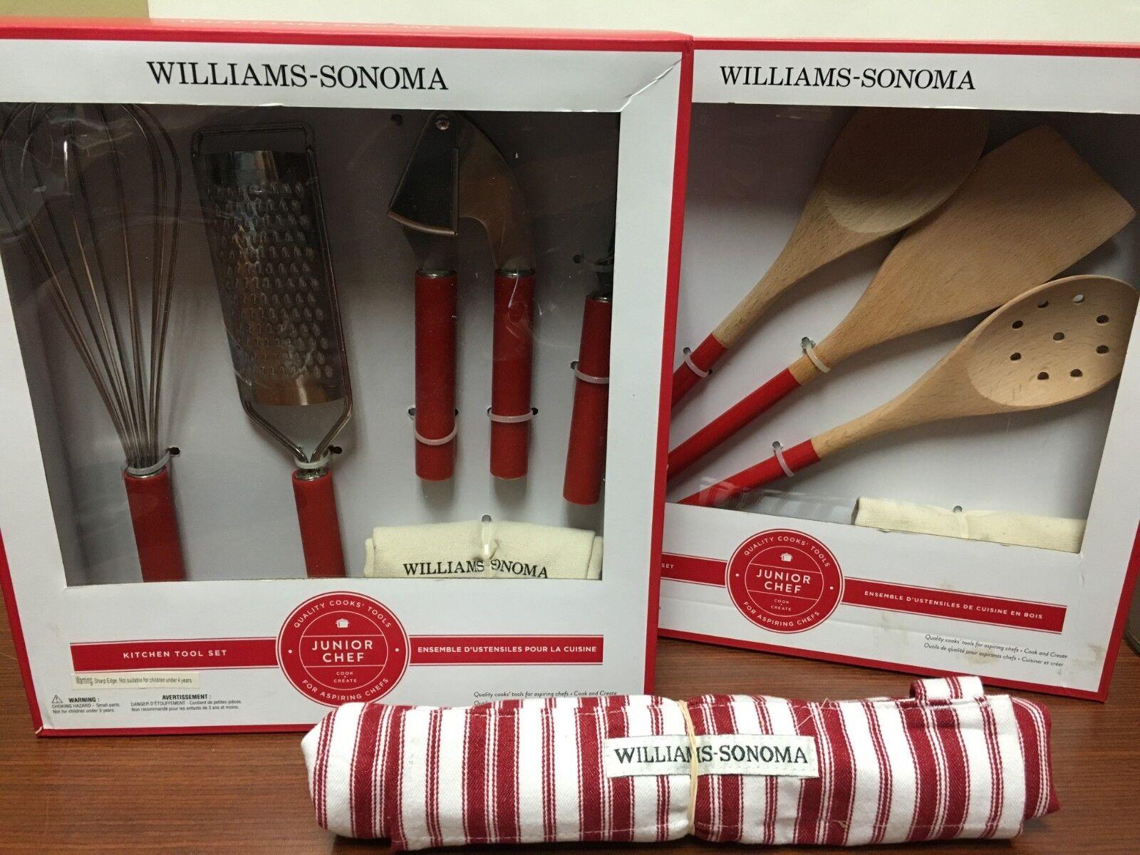 nouveau 3 Williams-Sonoma Junior Chef Kitchen Gadget Tool, bois Utensil Sets & Apron
