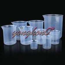 New 5pcs Plastic Beaker Set 50 100 150 250 500 Lab Kitchen Measuring Cup Durable