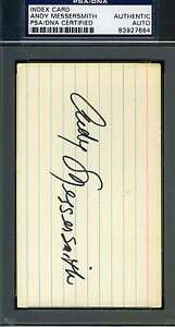 Andy Messersmith Psa/dna Hand Signed 3x5 Index Card Authentic Autograph
