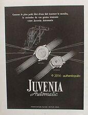 PUBLICITE JUVENIA AUTOMATIC MONTRE SUISSE MOULIN DE 1950 FRENCH AD WATCH ADVERT