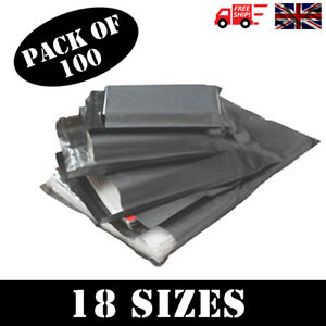 100-x-STRONG-QUALITY-GREY-POLY-MAILING-BAGS-POSTAGE-POSTAL-SELF-SEAL-18-SIZES