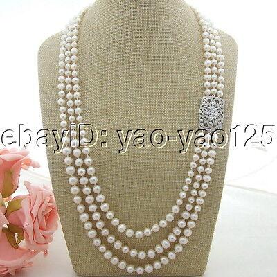 H041412 28''-32'' White Pearl CZ Pendant Necklace
