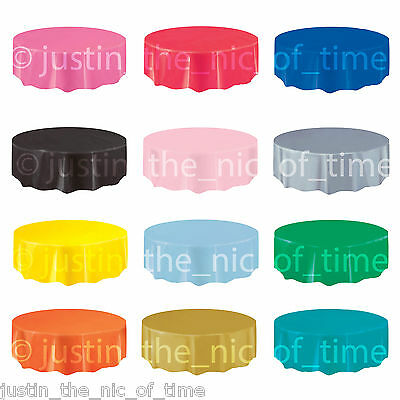 Plastic ROUND TABLECOVERS Table Cloth Cover Party Catering Tableware 21 COLOURS