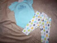 Gymboree  Be Happy Bodysuit & Polka Dot Pants Newborn
