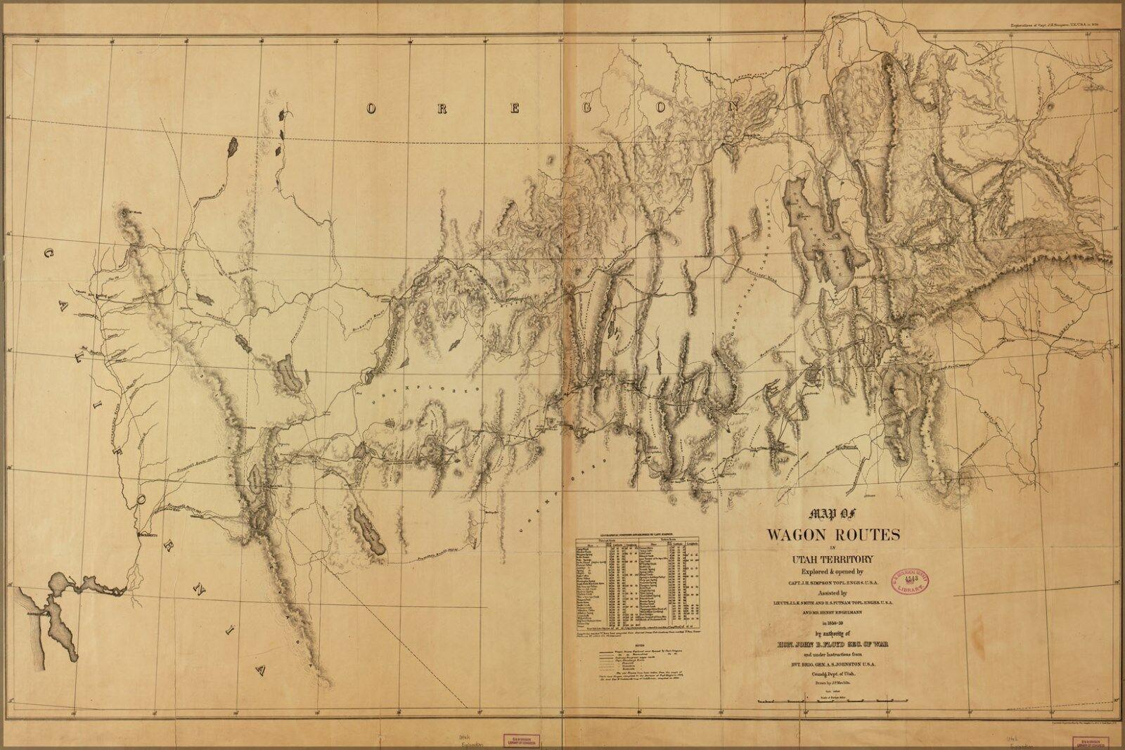 Plakat, Viele Größen; Karte von Wagon Routes Utah Nevada Kalifornien 1859
