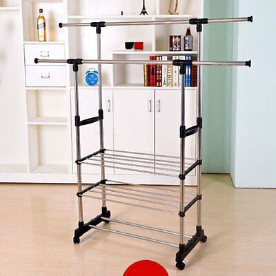 3-Tier Clothing Dry Double Rack Hanger Shelving Wire Shelf Dress Portable