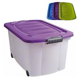Neu Aufbewahrungsbox mit Deckel Rollenbox 60L Stapelbox Kunststoff Box  WA56