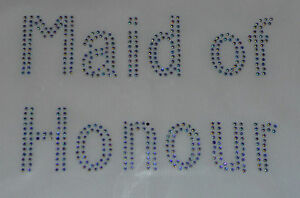 Bling Maid of Honor CRYSTAL AB Rhinestone Iron on Transfer