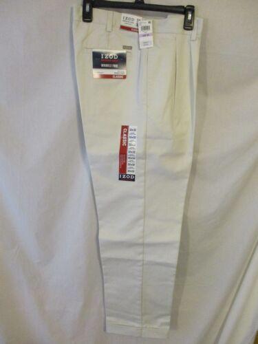 IZOD 100/% Cotton Solid Pumice Double Pleat Classic American Chino SR$50 NEW