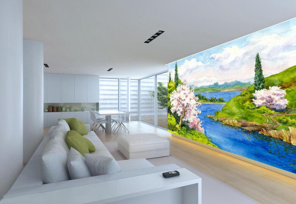 3D Watercolor River 72 Wall Paper Murals Wall Print Wall Wallpaper Mural AU Kyra