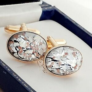 Vintage-CZECH-Silver-White-Glass-Opal-Oval-Gold-Plated-Cufflinks