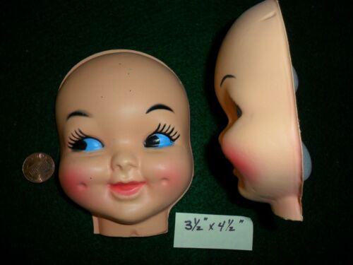"Vintage set of 2 Large Girl 3 1//2/""x 4 1//2/"" Faces with Dimples"