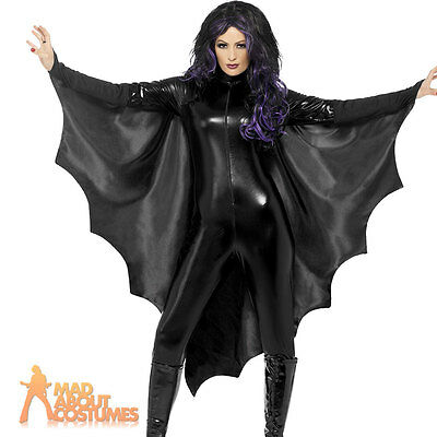 Vampire Bat Wings Costume Adult Halloween Black Cape Ladies Fancy Dress New