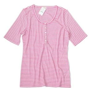 J-Crew-Factory-Women-039-s-XS-NWT-Pink-amp-White-Striped-Ribbed-Knit-Henley-Tee