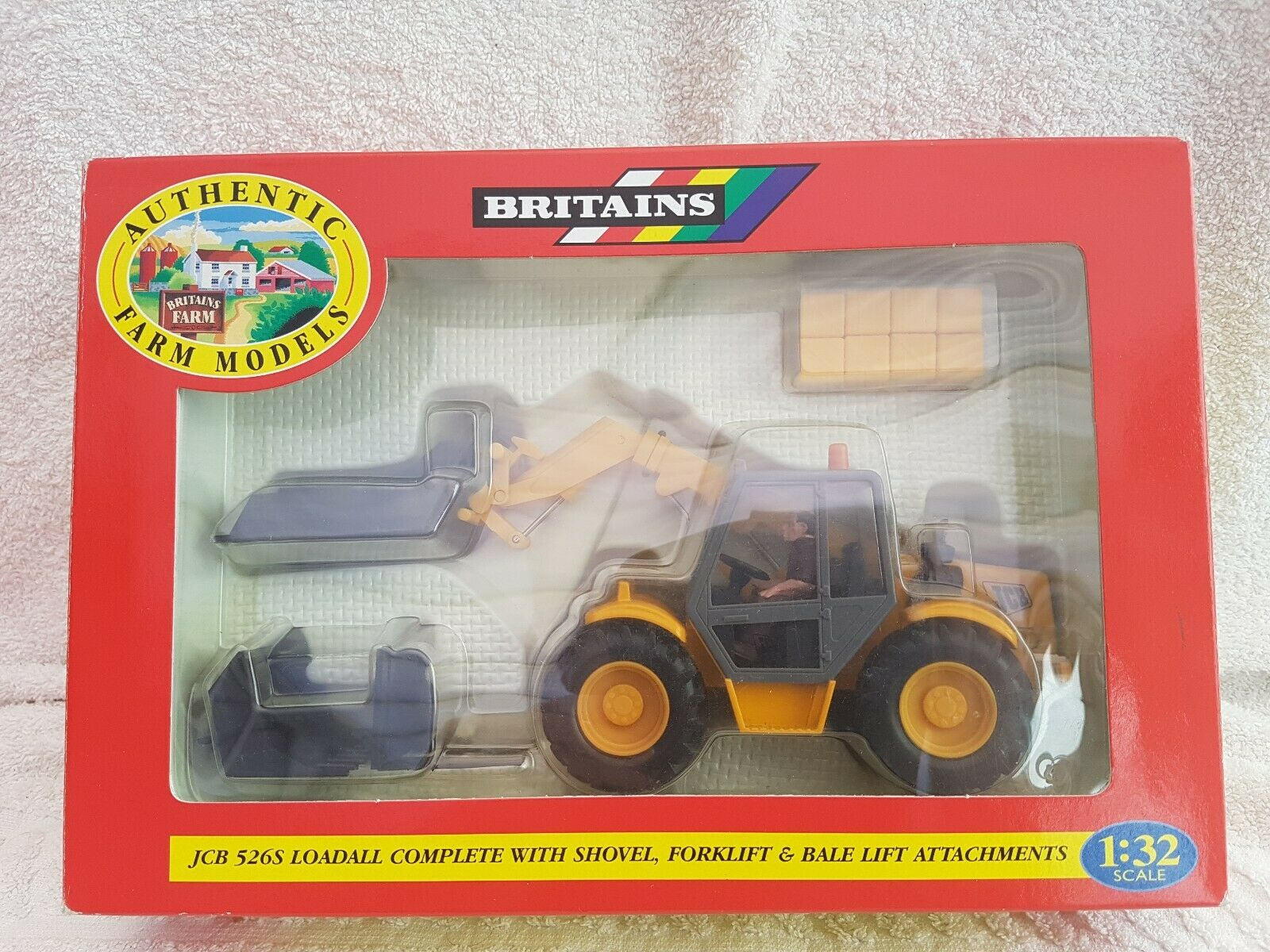 Britains 1 32 9460 JCB 526S Loadall With Shovel Forklift & Bale AttachSiets