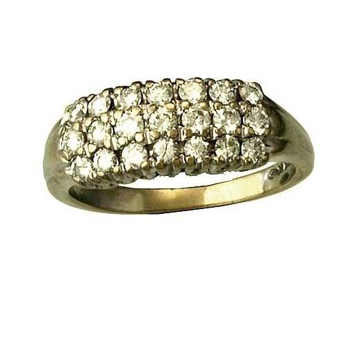 Fabulous 10K White gold Diamond .88 CT TW Row Ring Size 8.5