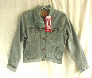LEVI STRAUSS LEVIS Faded Blue Denim Jean Trucker Jacket Girls size XL NEW NWT