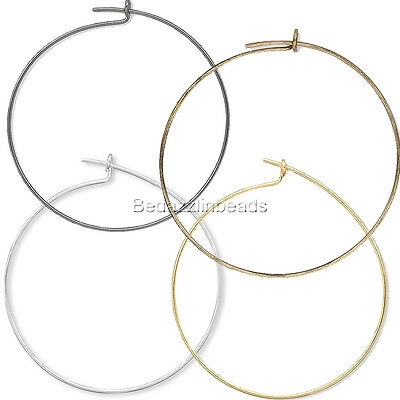 10 Plain 25mm Round Ring Hoop Wire Findings for Earrings & Wine Glass Charms