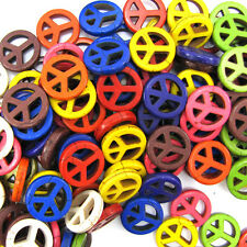 """20mm multicolor turquoise peace sign coin beads 16"""" strand"""