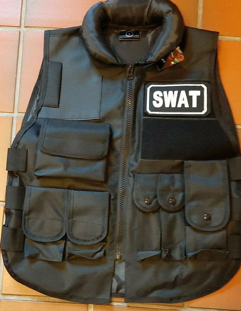 Security Weste in schwarz mit 8 Taschen in Gr. XL mit Klett