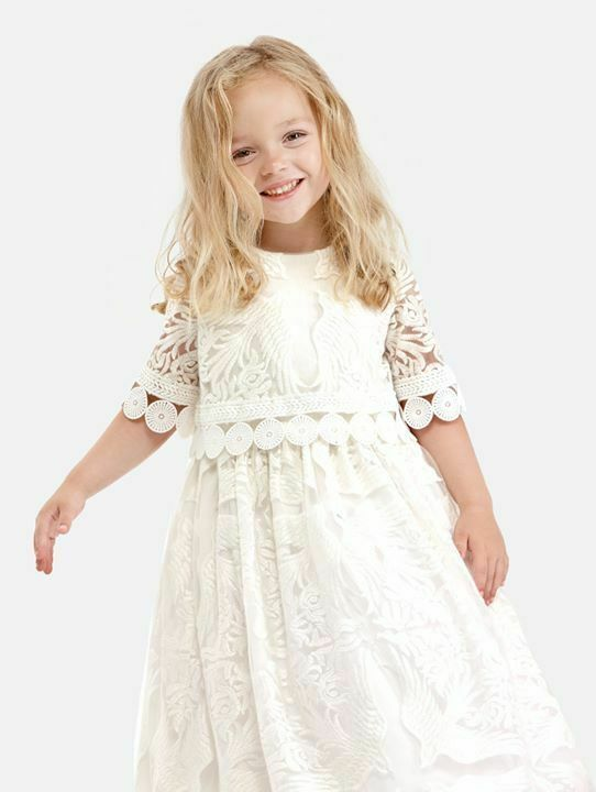 NWT Super Plush/RICH Ivory embroidery Pageant/Party/Formal Gown sz 2-Fit 4/5Y