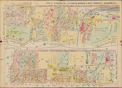 1909 WEST HOBOKEN HUDSON COUNTY NEW JERSEY NORTH BERGEN TOWN HALL COPY ATLAS MAP