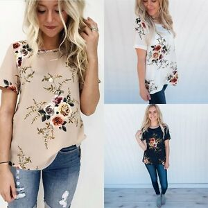 Women-Loose-Short-Sleeve-Cotton-Casual-Blouse-Shirt-Tops-Floral-Summer-T-shirt